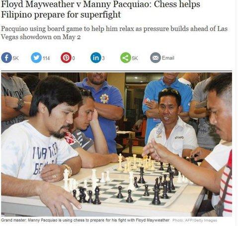 """Tabla de şah, arma secretă cu care Pacquiao îl poate învinge pe Mayweather. """"Şahul te ajută să ai o gândire strategică mai bună"""", spune unul dintre adversarii de joc ai filipinezului"""