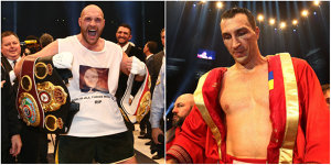 Final de eră în box! Tyson Fury l-a bătut pe Vladimir Klitschko şi e noul campion mondial al greilor! Imagini senzaţionale de la Dusseldorf. GALERIE FOTO