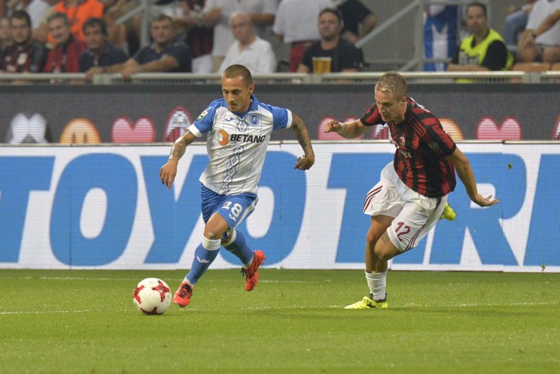 """N-a fost DEVIS! AC Milan – CS U Craiova 2-0, după reuşita lui Bonaventura şi golul din offside al lui Cutrone. Mitriţă a ratat incredibil la 1-0 pentru """"diavoli"""""""