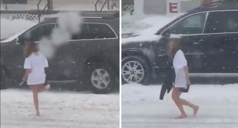"""Cum să transformi o plimbare în """"sport extrem"""". VIDEO O tânără filmată doar în tricou în timpul viscolului din SUA"""