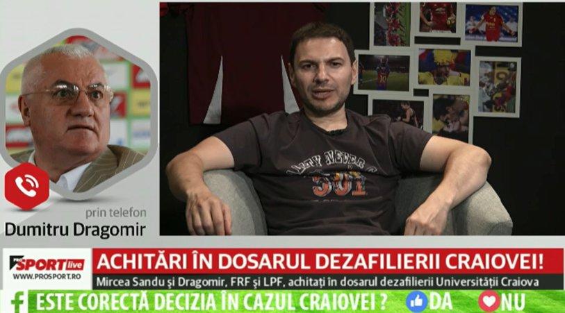 ProSport LIVE 16 iunie, cu Claudiu Giurgea şi Ştefan Beldie. Cum au reacţionat Dumitru Dragomir şi Adrian Mititelu în direct după decizia Curţii de Apel din dosarul dezafilierii Craiovei