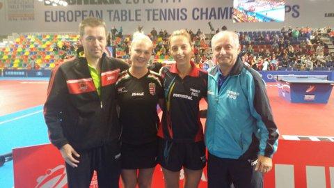 PODIUM | Argint asigurat! Eliza Samara şi unguroaica Pota au învins cuplul Jie/Qian şi joacă duminică pentru titlul european la tenis de masă