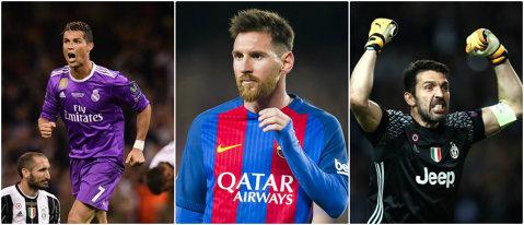 Luptă în trei pentru titlul de cel mai bun jucător din Europa: Ronaldo vs. Messi vs. Buffon