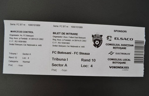 FC Botoşani vinde biletele de la tribuna a doua doar la pachet