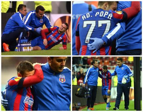 """Pierdere importantă pentru Steaua. Şanse mici ca Adi Popa să joace în derby-ul cu Dinamo: """"I-a recidivat accidentarea la umărul stâng, iar durerile sunt foarte mari"""""""