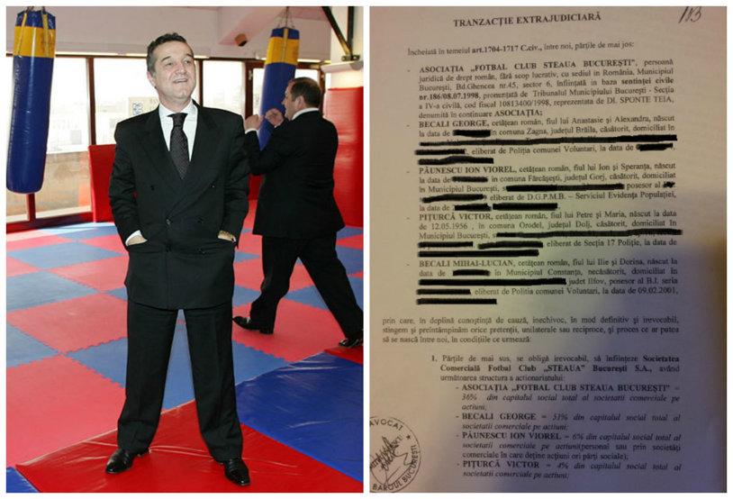 """EXCLUSIV   ProSport a intrat în posesia actelor tranzacţiei extrajudiciare prin care Gigi Becali a înfiinţat SC FC """"Steaua"""". Ce creanţă a """"stins"""" acesta pentru a prelua 51% din acţiuni şi ce fotbalişti a cedat gratuit noii societăţi"""