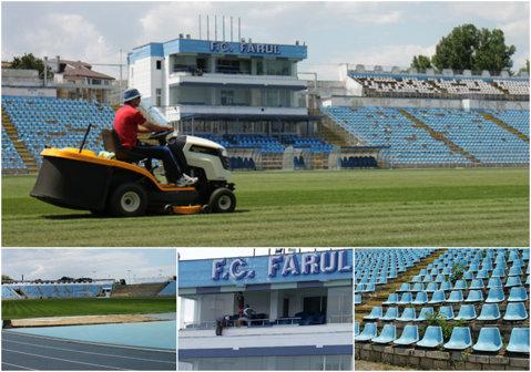 FOTO | Cum se prezintă stadionul Farul înaintea Supercupei dintre Steaua şi ASA Târgu Mureş