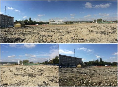 FOTO | Stadionul din Târgu Jiu a fost pus la pământ. Cum arată locul unde va fi ridicată noua arena a Pandurilor