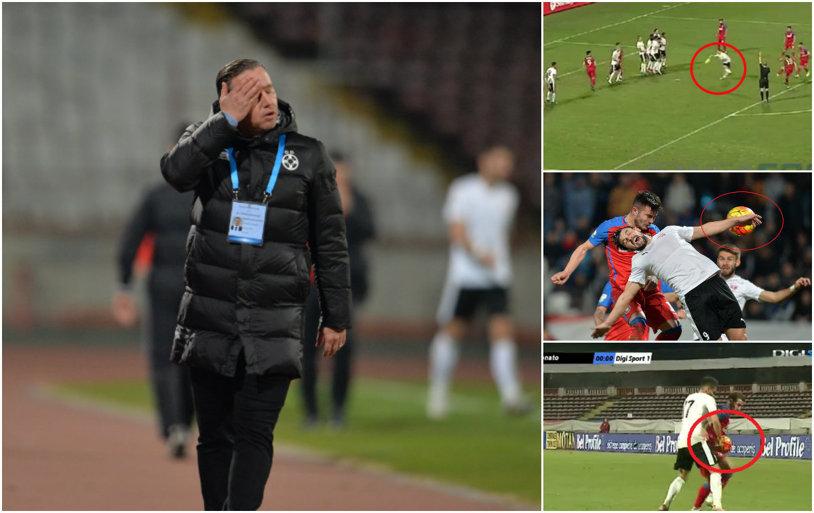 A furat-o arbitrul Cătălin Popa pe Steaua? Campioana reclamă trei penalty-uri, reluările îi dau dreptate