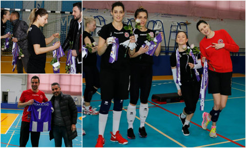 Fotbaliştilor de la ACS Poli le place voleiul! Timişorenii, însoţiţi de Rică Neaga, au pregătit o vizită surpriză fetelor de la Agroland