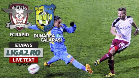Rapid - Dunărea Călăraşi 1-0. Rafa Jorda îi readuce pe giuleşteni pe prima poziţie. Returul se joacă fără spectatori