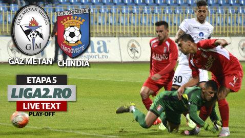 Gaz Metan - Chindia 1-3. Cherchez şi compania au predat o lecţie de fotbal la Mediaş. Lupta pentru promovare în Seria 2 se incinge şi mai mult