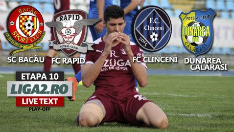 SC Bacău - Rapid 1-1. Giuleştenii sunt egalaţi în prelungiri şi tremură. Dunărea Călăraşi câştigă cu 3-0 la Clinceni şi aşteaptă cu sufletul la gură decizia FIFA. Pot promova direct
