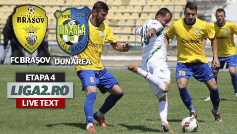 """FC Braşov - Dunărea Călăraşi 3-0. """"Stegarii"""" s-au dezlănţuit după ce arbitrul Haidiner a rupt jocul cu o eliminare dictată uşor"""
