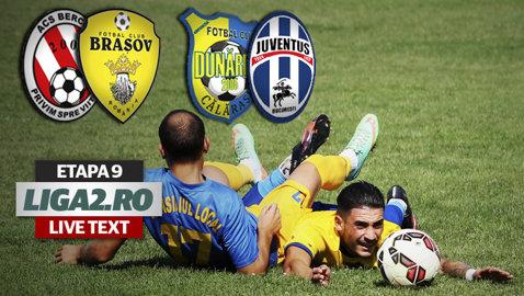 """Juventus trece """"Dunărea"""" seacă a lui Adi Mihalcea şi e noul lider al Ligii 2. FC Braşov s-a impus la scor cu ACS Berceni şi rămâne invincibilă şi după etapa 9"""
