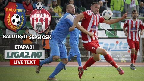 CS Baloteşti - Sepsi OSK 0-2. Hadnagy şi Bujor au adus victoria covăsnenilor în repriza secundă şi îşi readuc echipa pe poziţia secundă, cu un punct peste UTA