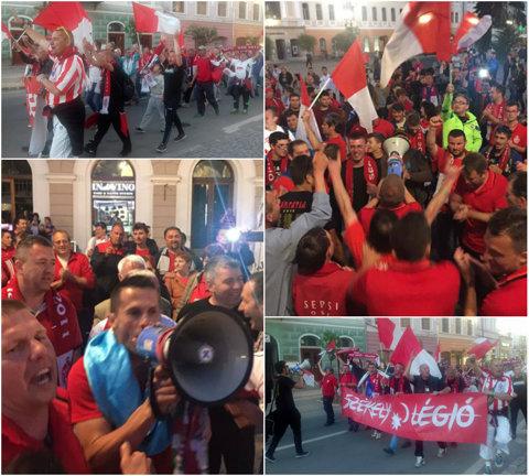 FOTO | Suporterii au ieşit în stradă la Sfântu Gheorghe. Sepsi, aşteptată în centrul oraşului după ce a reuşit promovarea în Liga 1. Declaraţiile lui Suciu şi Dioszegi