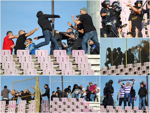 """Celebrul """"Nu dăm niciodată înapoi"""" al fanilor utişti, ironizat de polişti! Sancţiunile dictate de Jandarmerie după bătaia dintre suporteri de la pauza derby-ului Poli - UTA"""
