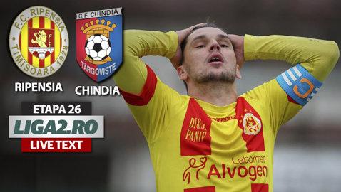 Bară-gol şi o nouă reuşită a patra, în meciul Ripensia - Chindia. Târgoviştenii au avut şi un penalty clar, neacordat de arbitru