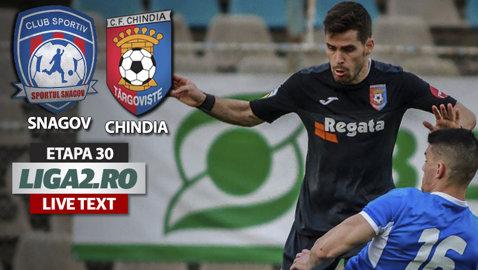 Chindia trece la limită de Sportul Snagov şi îşi menţine avansul faţă de FC Argeş. Cherchez a cedat nervos la o gafă a arbitrului şi a fost eliminat