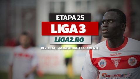 Rezultatele şi marcatorii etapei a 25-a. UTA BD a promovat în Liga 2, Miroslava şi Baia Mare o pot urma sâmbătă