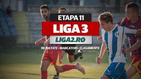 Rezultatele şi marcatorii etapei a 11-a a Ligii 3. 12 meciuri au loc vineri