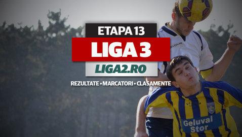 Rezultatele şi marcatorii etapei a 13-a a Ligii 3. Pentru echipele din patru serii această este ultima rundă a turului. În Seria a 4-a se joacă încă două etape