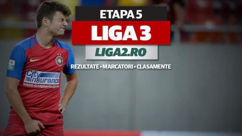 Rezultatele şi marcatorii etapei a 5-a a Ligii 3. Steaua II şi Dinamo II au fost umilite, echipa lui Nicolae Dică s-a împiedicat din nou