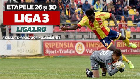 Se decid ultimele două promovate în Liga 2: Csikszereda, Hărman sau Miroslava, ori Ripensia sau Reşiţa. Rezultatele şi marcatorii etapelor 26 şi 30