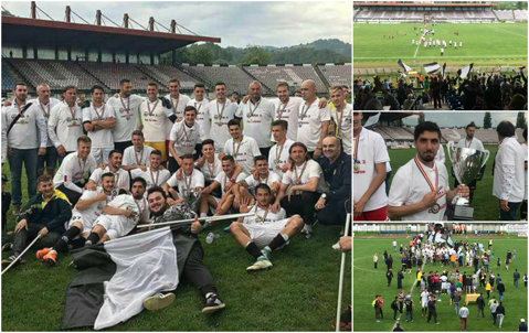 Petroşaniul revine în Liga 2. ACS Şirineasa îşi schimbă numele în Jiul după ce a reuşit promovarea. Echipa lui Dulca a primit trofeul de campioană
