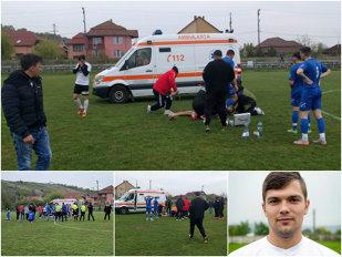 """Momente de groază la un meci din România: """"Zi-le să oprească meciul că mi-e rău!"""" Apoi, a picat pe teren. Un episod incredibil cu un jucător de 24 de ani. Filmul evenimentelor: stopul, medicul, paramedicul, ambulanţa, poarta închisă, omul cu flexul, accidentul"""