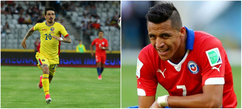 """Momentul în care îi spui """"NU"""" unui fotbalist uriaş la schimbul de tricouri! Hanca a oferit faza serii la amicalul cu Chile: """"Sanchez mi-a dat tricoul lui. Eu nu i l-am dat pe al meu"""" :)"""