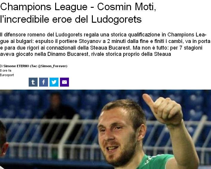 """Cosmin Moţi, erou şi în presa din întreaga lume: """"Şi pentru toate acestea, noi, aici la Mirror Footbal, te salutăm pe tine, sir"""""""