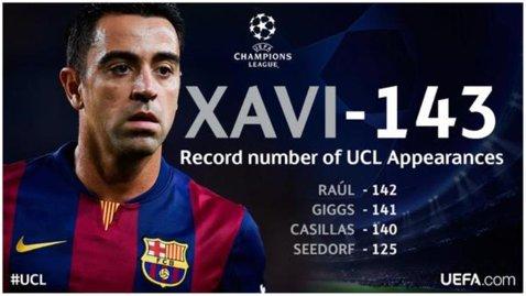 """""""Omul tiki-taka"""" a intrat în istorie. 143 pentru Xavi: mijlocaşul Barçei a devenit jucătorul cu cele mai multe apariţii în Liga Campionilor"""