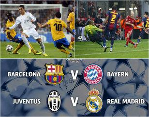 Semifinalele Champions League: Barcelona - Bayern, Juventus - Real Madrid! Guardiola revine pe Camp Nou!  Napoli - Dnepr şi Sevilla - Fiorentina, meciurile pentru un loc în finala Europa League