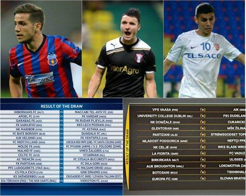 TRENCIN - STEAUA, în turul II al Ligii Campionilor. FC Botoşani - Tskhinvali, în turul I al Europa League şi moldovenii vor da peste Legia dacă merg mai departe. Astra - Inverness, în turul II