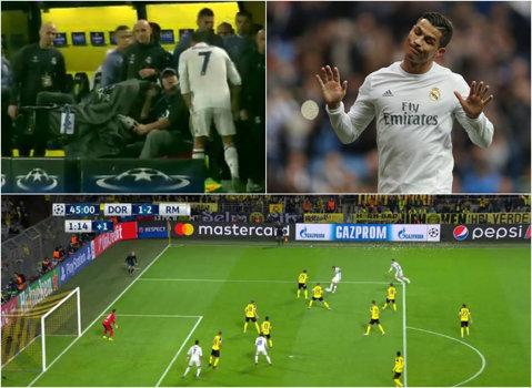 VIDEO | Imagini unice cu Ronaldo! În loc să meargă la vestiare, starul Realului a ţâşnit spre un cameraman la pauza meciului de la Dortmund! Ce i-a cerut acestuia