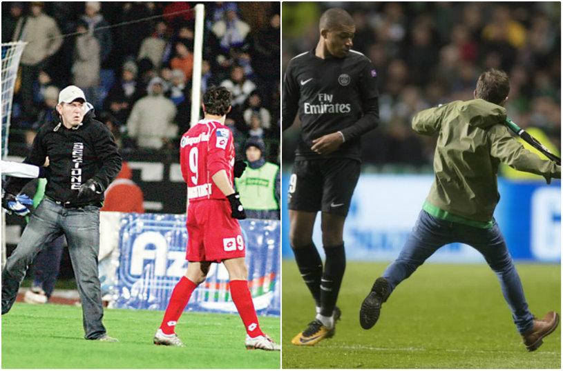"""""""Poştaşul"""", varianta britanică! Un suporter a intrat pe teren în timpul meciului Celtic - PSG şi a încercat să-l lovească pe Mbappe cu un fular. Ce a urmat"""