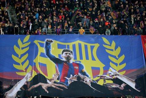"""Barcelona a avut posesie 100% până la golul înscris de Messi într-un timp record! FOTO   Coregrafie superbă afişată pe Camp Nou: """"God Save the King"""""""