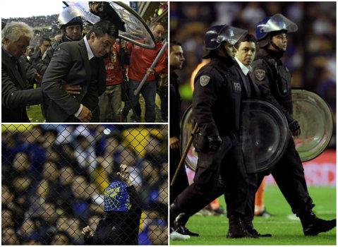 Scos cu scutierii la pauză! Antrenorul lui River a trăit spaima vieţii la meciul cu Boca Juniors. Boca a câştigat primul derby din cele trei care vor avea loc în următoarele 11 zile