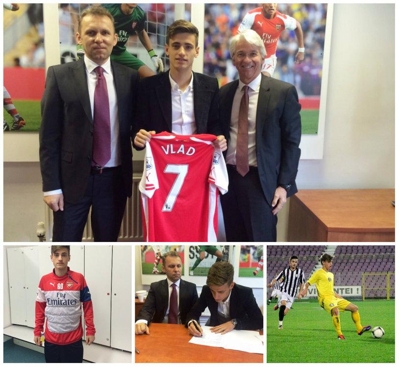 """Moment istoric! Vlad Dragomir, căpitanul naţionalei U16, a semnat cu Arsenal Londra. """"Wenger l-a dorit foarte mult. Englezii l-au monitorizat un an şi jumătate"""". Timişoreanul e primul român în echipa """"Tunarilor"""""""