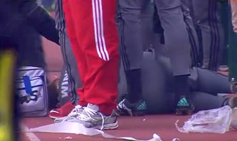 VIDEO | shocking Scenes at Levski – CSKA Sofia. Thomas Neubert collapsed next to the bench after he was hit in the head with a stone