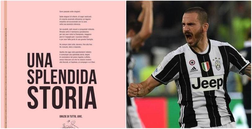 """Gest superb al lui Bonucci: a cumpărat o pagină din Gazzetta dello Sport pentru a transmite un mesaj """"familiei"""" Juventus. Gândurile unui fundaş uriaş la încheierea unei ere"""