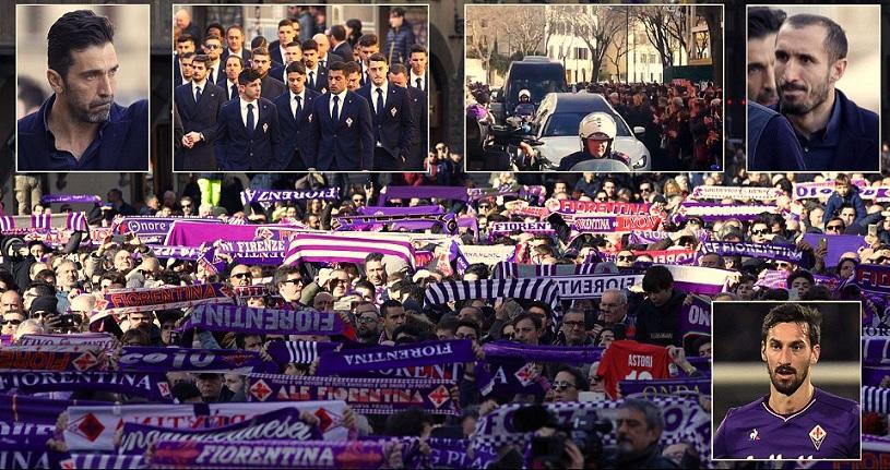GALERIE FOTO | Davide Astori, condus pe ultimul drum de mii de fani. Buffon, în lacrimi, Batistuta a ţinut să transmită un mesaj tulburător | VIDEO