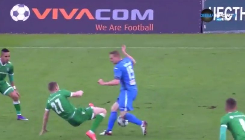 VIDEO | Intrare CRIMINALĂ a lui Moţi în ultimul meci al lui Ludogoreţ. Arbitrul l-a eliminat imediat după ce a văzut rana provocată adversarului