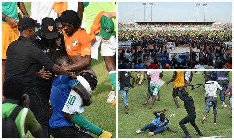 """GALERIE FOTO   Bătaie ca-n """"Şapte păcate"""" la finalul meciului dintre Coasta de Fildeş şi Camerun"""