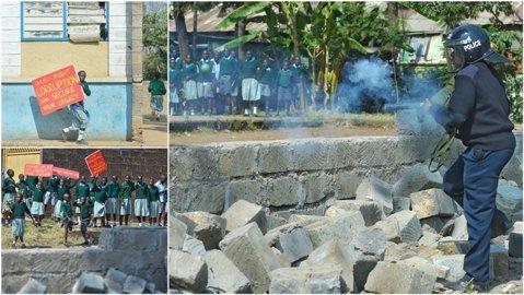 VIDEO   Copii reduşi la tăcere cu gaze lacrimogene pentru că protestau că terenul de fotbal al şcolii le-a fost ocupat de către un dezvoltator privat