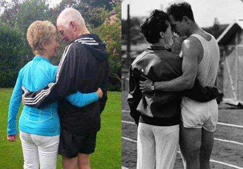 ATUNCI ŞI ACUM   Dragostea depăşeşte barierele timpului! La aniversarea a 52 de ani de căsătorie, doi foşti atleţi britanici au refăcut o fotografie făcută în tinereţe