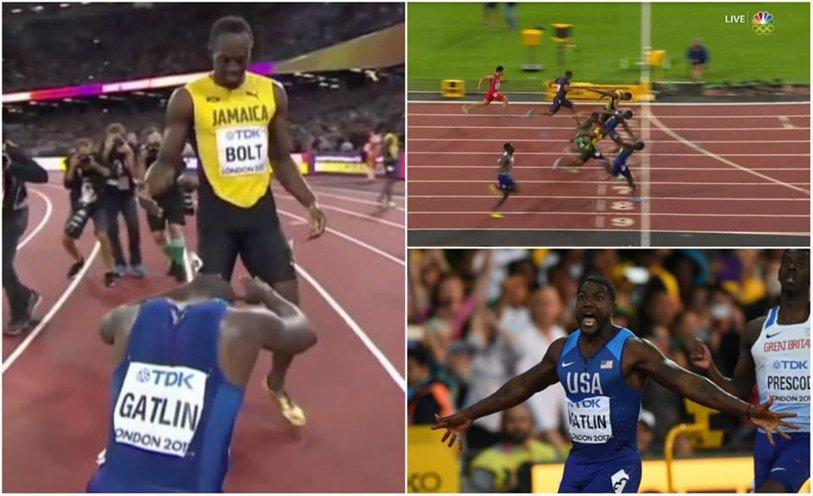 """""""Fulgerul"""" BOLT a pierdut titlul mondial la 100 m. """"Startul 'm-a ucis'!"""". Americanul Justin Gatlin dă lovitura carierei în noaptea lui Usain: victorie la 35 de ani. Finala CM Londra a fost ultima cursă individuală pentru jamaican"""