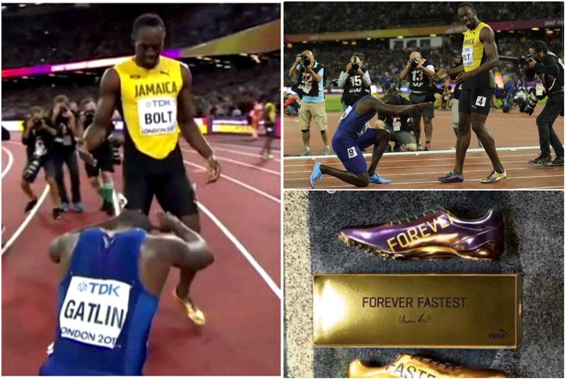 Ce i-a spus Bolt lui Gatlin imediat după finalul cursei de 100 m de la Londra. Unica reverenţă şi palma condamnatului care a primit o şansă
